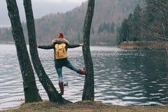 Traveler woman. Active lifestyle. Lake Bled, Slovenia royalty free stock image