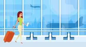 Traveler Woman Airport Hall Departure Terminal Travel Baggage Suitcase, Passenger With Luggage. Flat Vector Illustration stock illustration