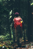 Traveler Woman with backpack hiking in forest. Travel Lifestyle concept active vacations outdoor Royalty Free Stock Photos