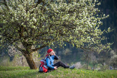 Traveler woman with a backpack near blooming tree. Woman with a backpack enjoy under blooming tree on top of hill with yellow wildflowers, green grass and Royalty Free Stock Photo