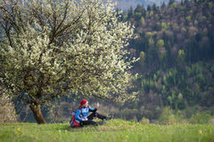 Traveler woman with a backpack near blooming tree. Smiling woman with a backpack sit under blooming tree on top of hill with yellow wildflowers, green grass and Stock Image