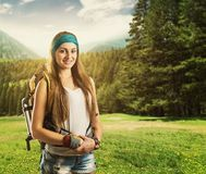 Traveler woman with backpack Stock Photo