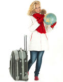 Traveler woman with a bag Stock Photo