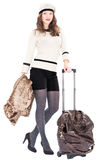 Traveler woman with a bag. On white background. Spring/Autumn/winte r Royalty Free Stock Photography