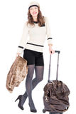 Traveler woman with a bag. On white background. Spring/Autumn/winte r Stock Image