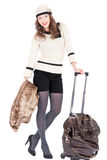Traveler woman with a bag. On white background. Spring/Autumn/winte r Royalty Free Stock Photos