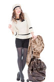 Traveler woman with a bag. On white background. Spring/Autumn/winte r Stock Photo
