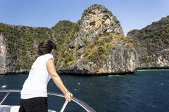 Traveler woman in boat trip Royalty Free Stock Images