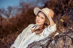 Traveler woman in the hat at nature Royalty Free Stock Image