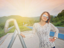 Traveler woman Morning light on the road. Traveler woman Morning light on the road Royalty Free Stock Images