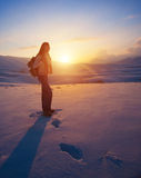 Traveler woman in the mountains Stock Image