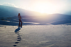 Traveler woman in the mountains Royalty Free Stock Images