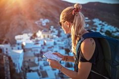 Traveler woman in the mountins stock photography