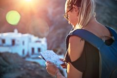 Traveler woman in the mountins royalty free stock photography