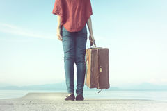 Traveler woman ready to leave for her trip stock photos