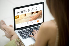 Traveler woman searching for lodging Royalty Free Stock Photos
