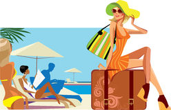 Traveler woman sitting on suitcase Royalty Free Stock Photography