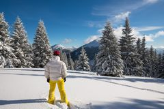 Traveler, woman  stands in a deep snow Royalty Free Stock Image