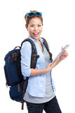 Traveler woman using tablet Stock Photo