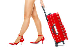 Traveler woman walk with suitcase Royalty Free Stock Image