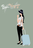 Traveler women with blue suitcase and camera; vacation and holiday lifestyle Stock Photos