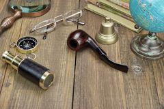 Traveler Wood Table With Many Necessary Items. Stock Photography