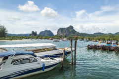 Traveler wooden boats. At krabi port with blue skies Royalty Free Stock Image