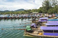 Traveler wooden boats. At krabi port with blue skies Stock Photography