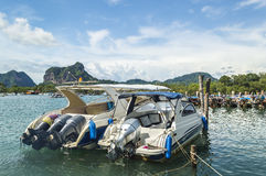 Traveler wooden boats. At krabi port with blue skies Royalty Free Stock Photography