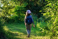 Traveler girl with backpack walking on path in the tropical forest royalty free stock photography