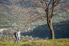 Traveler young man with backpack on hill Stock Images