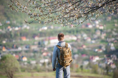 Traveler young man with backpack on hill Stock Image