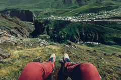 Traveler Young Man Resting And Enjoying View Of Nature, Point Of View Shot Royalty Free Stock Photos
