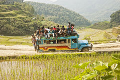 Travelers. SAGADA, MOUNTAIN PROVINCE, PHILIPPINES - APRIL 3, 2007 - For lack of efficient transportation, locals in most Philippine rural areas commute daily and Royalty Free Stock Photography
