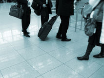 Travelers at airport. Air travelers at an airport royalty free stock images