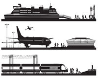 Travelers in airport terminal, train station and pier with cruis. Vector illustration of travelers in airport terminal, train station and pier with cruise liner Stock Photo