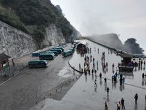 Chinese Hunan Zhangjiajie Tianmenshan Mountain parking lot hillside. Travelers from all over the world are ready to return royalty free stock photography
