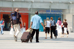 Travelers And Shoppers Royalty Free Stock Image