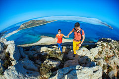 Travelers with backpacks Stock Images