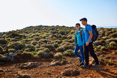 Travelers with backpacks Stock Image