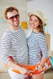 Travelers in buoy Stock Image