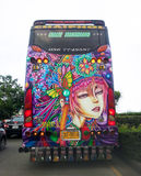 Travelers bus with colorful painting stock photos