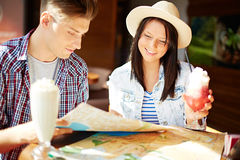 Travelers in cafe Stock Photos