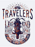 Travelers classic motorcycle riders legend. Vector artwork for t shirt print grunge effect in separate layer vector illustration