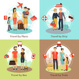 Travelers  Concept 4 Flat Icons Square Royalty Free Stock Images