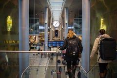 Travelers in Copenhagen Airport. Travelers in Copenhagen International Airport Kastrup, in Denmark Stock Images