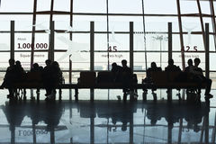 Travelers in departure hall, Beijing Capital International Airport. Royalty Free Stock Photo