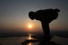 Travelers enjoy the sunrise Royalty Free Stock Photography