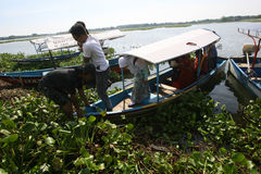 Travelers. Enjoy the water by renting a fishing boat Boyolali, Central Java, Indonesia stock images