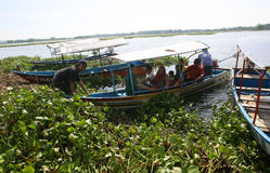Travelers. Enjoy the water by renting a fishing boat Boyolali, Central Java, Indonesia stock image